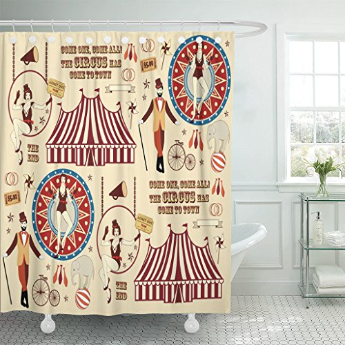 TOMPOP Shower Curtain Vintage Pattern of The Circus