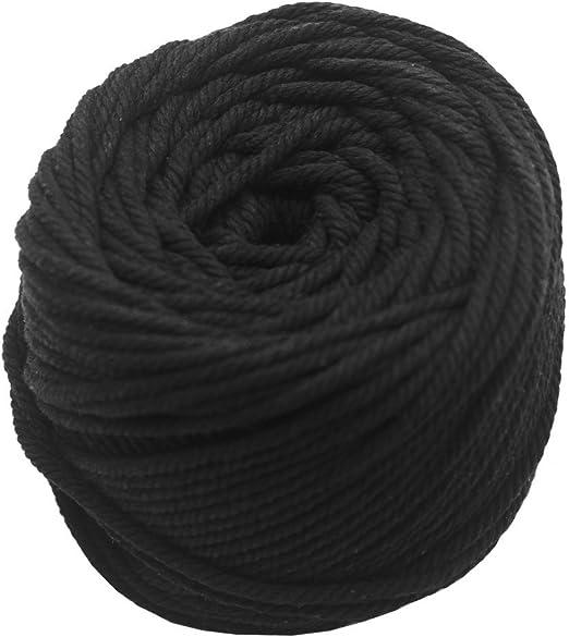 JUN - Cordón de algodón natural de 3 mm de diámetro, para colgar en la pared, para hacer manualidades, cuerda de tejer, decoración de la pared, color negro, macramé, longitud: 109 yd: