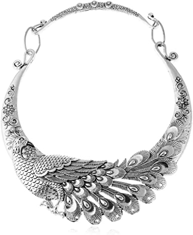 Vintage jewelry costume jewelry silver tone bib necklace