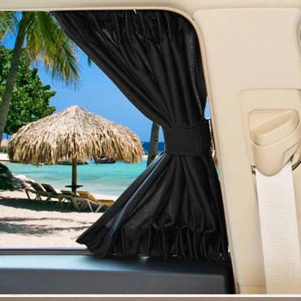 Sedensy 2Auto Sonnenschutzfolie, Jalousien zurück Sitz Farben Vorhänge, Universal Auto Fenster UV-Sonnenschutz mit Vorhang Kordelzug 70cm