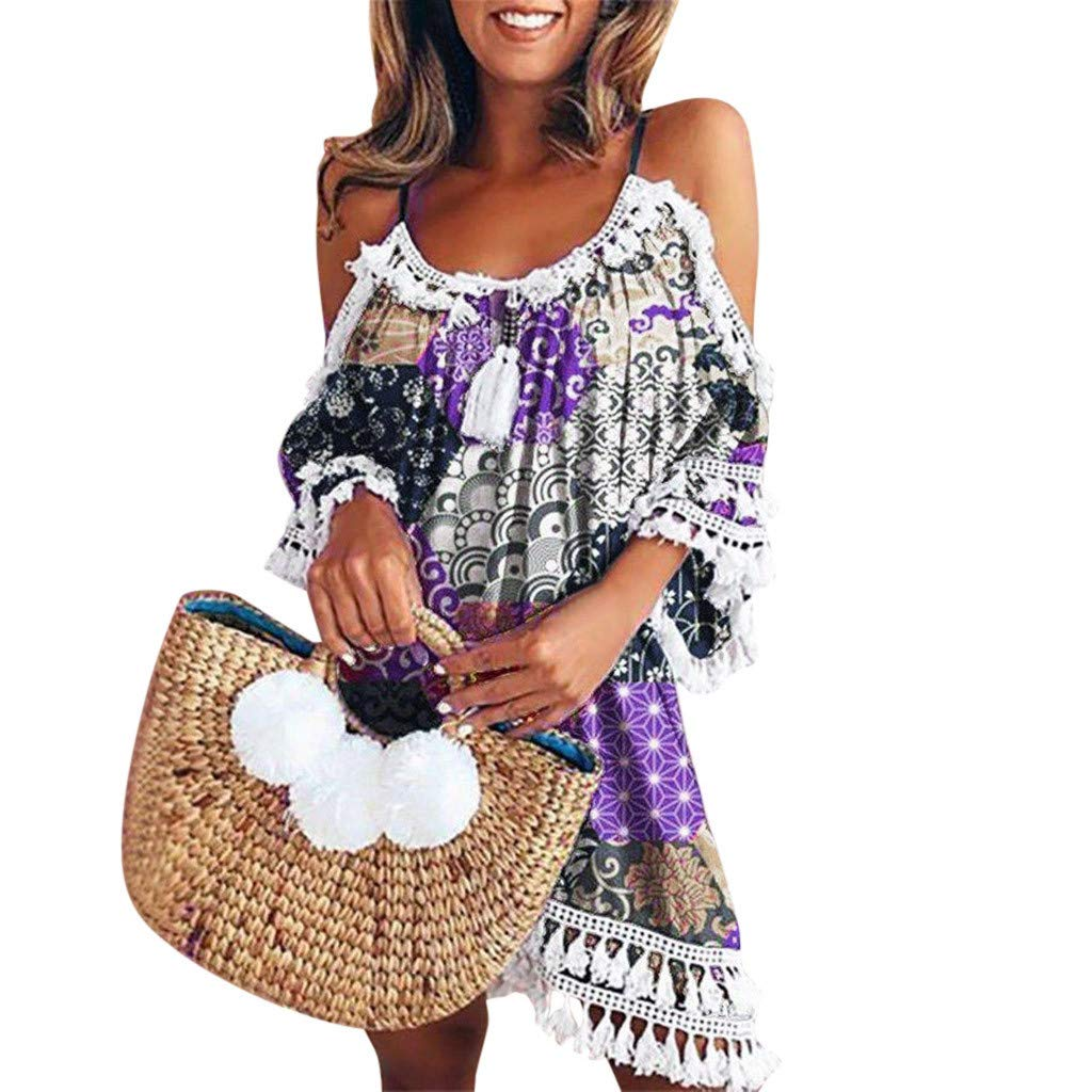 Connia Women Off Shoulder Dress Summer Tassel Short Cocktail Party Beach Casual Midi Dress Loose Sundress (L, Purple 2)