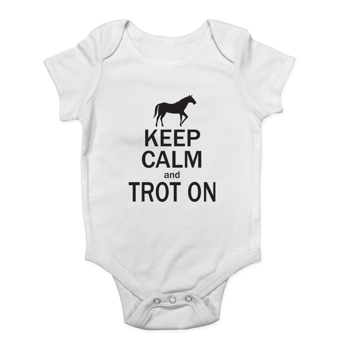 Shopagift Keep Calm and Trot On Boys and Girls Baby Vest Bodysuit