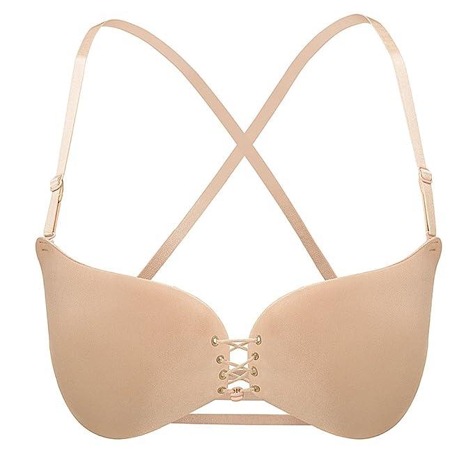 b4b69a7e957a8 Tinksky Drawstring Push Up sujetador ajustable liso sujetador Backless  mujer ropa interior D ropa interior (