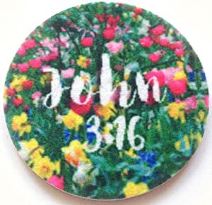 John 3:16 car coasters - Cup Holder Coasters - vibrant, full color, super-absorbent, contains an anti-bacterial, anti-microbial agent - 2 Pack