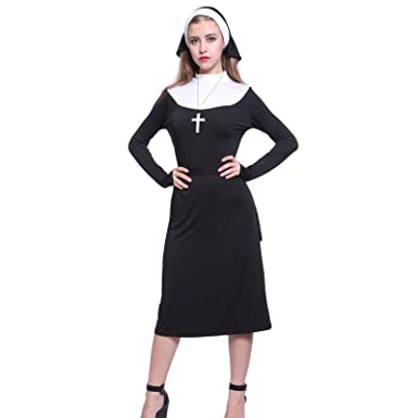 Ladies Nun Habit Fancy Dress Outfit Hen Party Holy Sister Costume With Cross