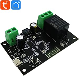 WiFi Momentary Inching Relay Self-Locking Switch Module DC 7-32V WiFi Relay Switch Smart Life/Tuya APP Remote Control WiFi Relay Module for Garage Door Opener, Compatible with Alexa Echo Goolge Home