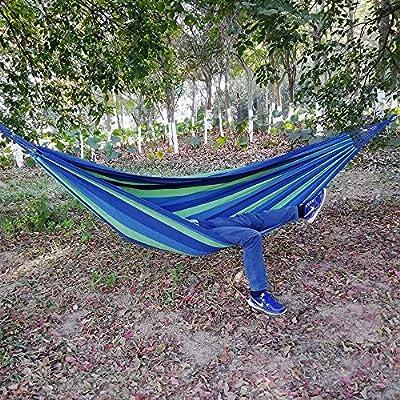 GOCAN Brazilian Double Hammock 2 Person Extra Large Canvas Cotton Hammock for Patio Porch Garden Backyard Lounging Outdoor and Indoor Blue Green XXXL : Garden & Outdoor