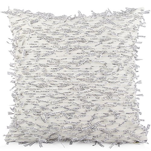 Chloe & Olive Newspaper Print Fringe Clippings Throw Toss Pillow - Black and Off White - Custom 18