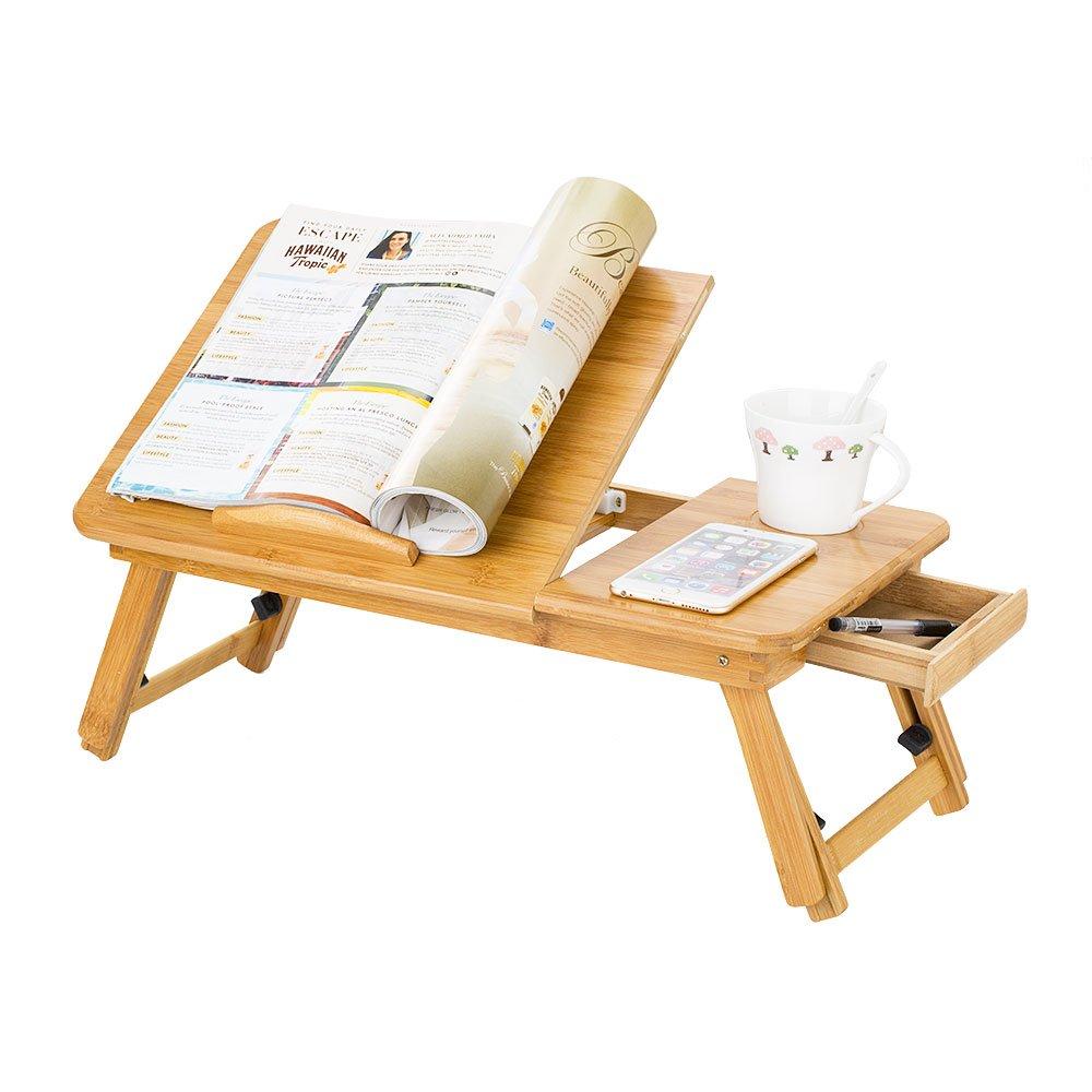 Zipom Table pliante 100/% bambou pour ordinateur portable Motif fleurs Avec tiroir CT1681
