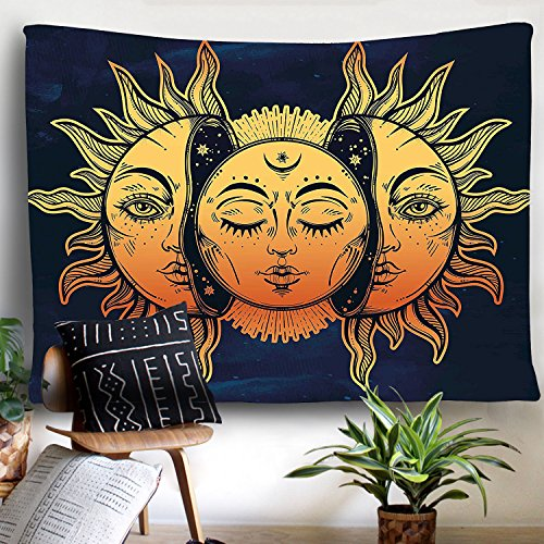 PANDAYAQ Psychedelic Tapestry Indian Moon and Sun with Many Fractal Faces Tapestry Celestial Energy Mystic Tapestries Wall Hanging Tapestry for Bedroom Living Room Dorm - Hanging Sun Face