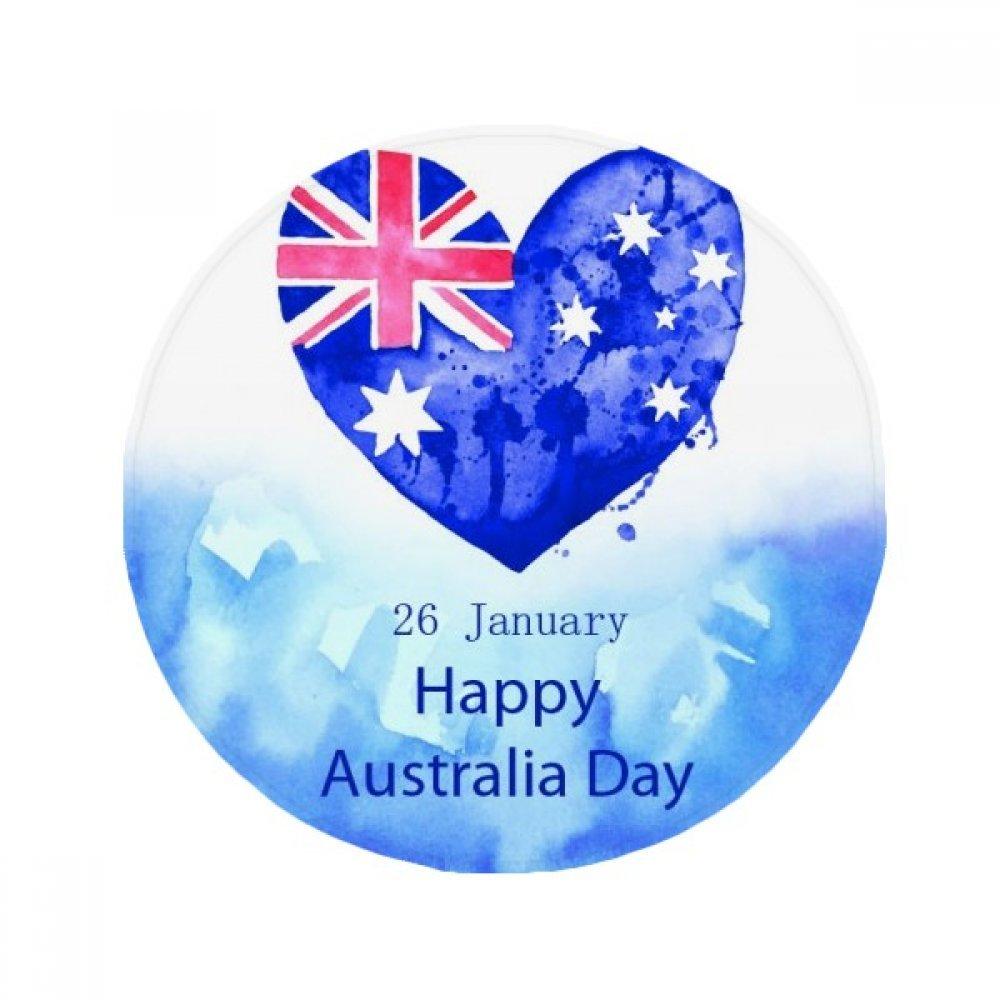 60X60cm DIYthinker Australia Happy Day Heart Shape Flag Anti-Slip Floor Pet Mat Round Bathroom Living Room Kitchen Door 60 50Cm Gift