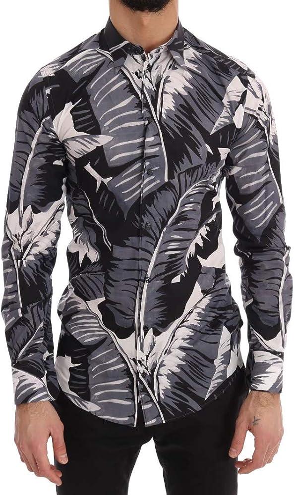 Dolce & Gabbana - Camisa de Manga Corta, diseño de Hojas de plátano, Color Dorado - Azul - 47: Amazon.es: Ropa y accesorios