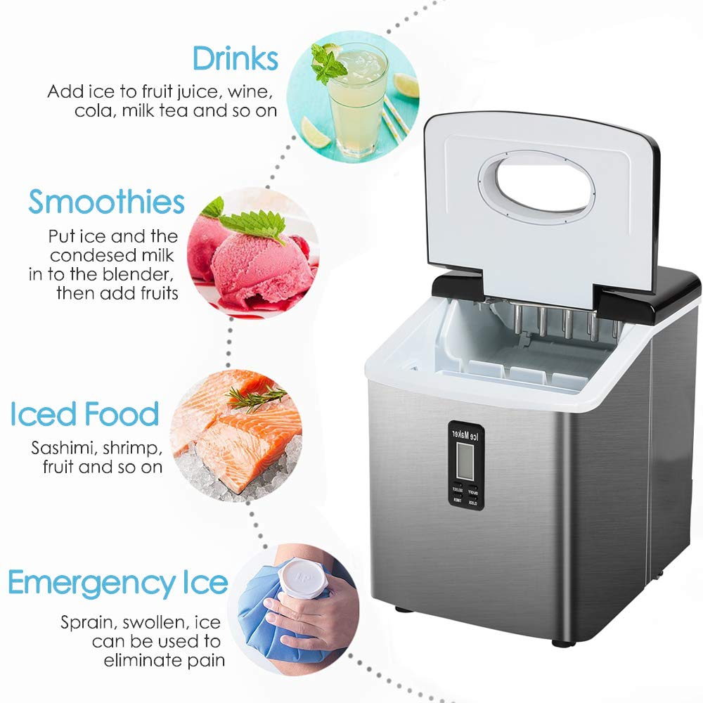 Red Tavata Portable Automatic Ice Maker Machine with Self-clean Function for Countertop 9 Ice Cubes ready in 8 Minutes,Makes 26 lbs of Ice per 24 hours,with See-through Lid