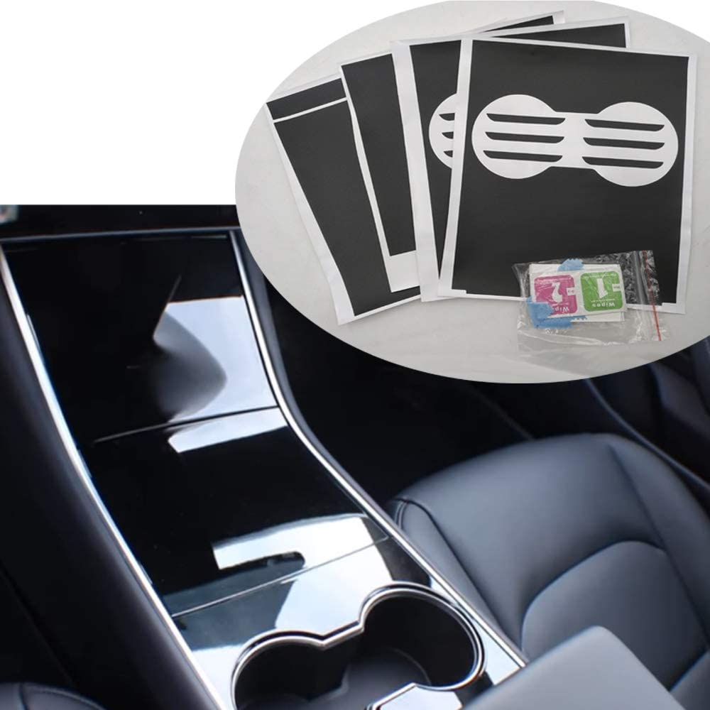 ROCCS Model 3 Center PVC Wood Grain Wrap Kit Console Protector Sticker Armrest Box Control Decoration for Tesla Model Three 3