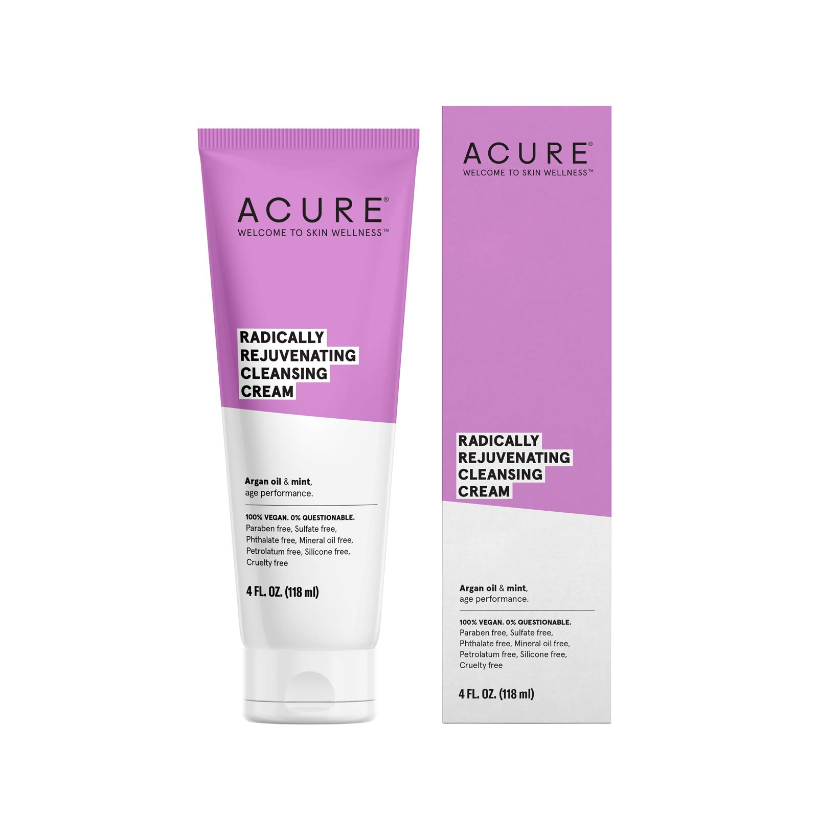 ACURE Radically Rejuvenating Cleansing Cream | 100% Vegan | Provides Anti-Aging Support | Olive Oil & Mint - Rejuvenates, Refreshes, Soothes & Cleanses | 4 Fl Oz