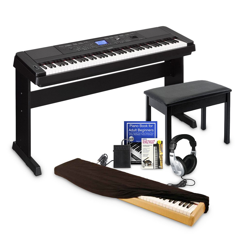 Yamaha DGX660 Digital Piano Education Bundle, Black with Yamaha Accessories, Dust Cover, and Headphones by Yamaha