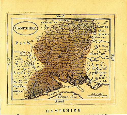 - Hampshire ca. 1785 antique England English County map