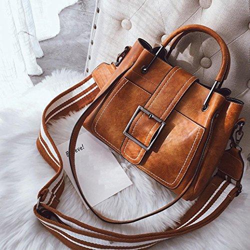 Kimloog Women's PU Leather Shoulder Cross Body Bags Multi Purpose Retro Tote Handbags (Brown) by Kimloog-bags (Image #2)