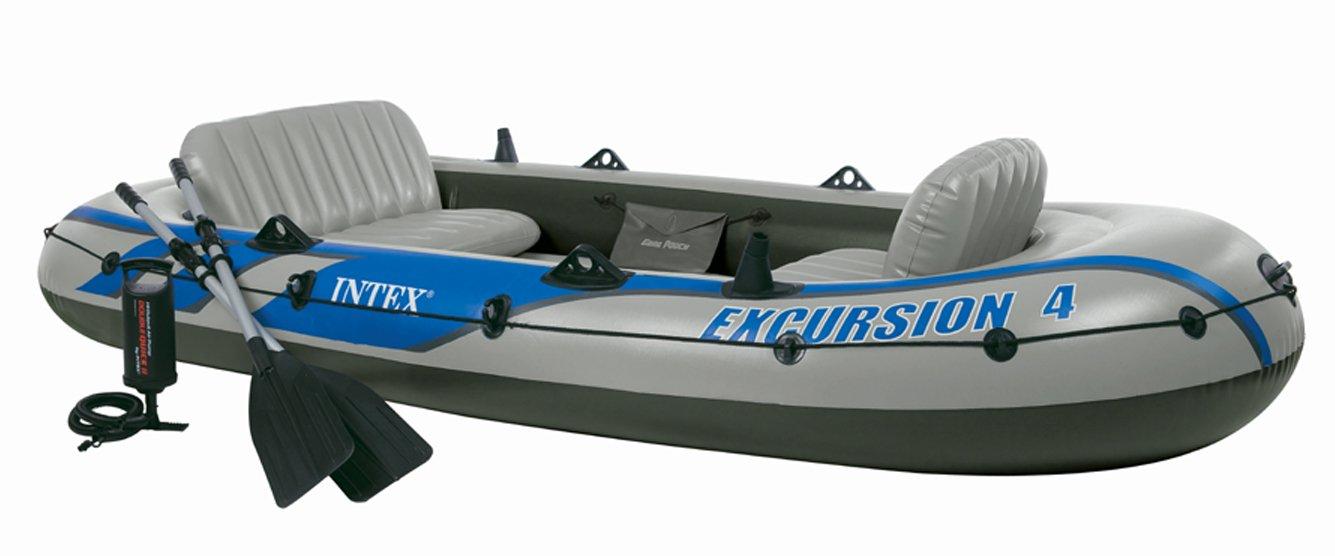 #68324 Juego de excursión para 4 personas, incluye barco y remos de aluminio de 124 x 1,65 m, profundidad 44 cm, incluye bomba