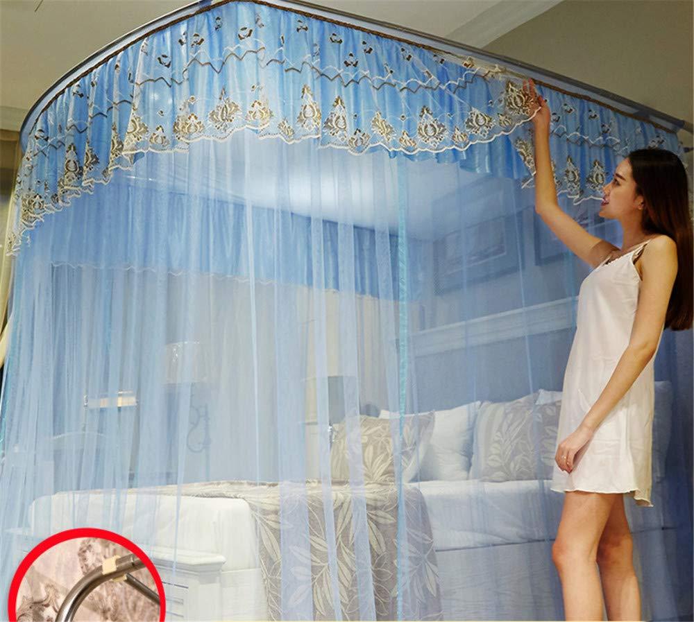Retractable u-Type Mosquito net Double Bed net Palace net Outdoor Mosquito net Travel Mosquito net Mosquito net, Blue, L (120-245Adjustment) W200cm by RFVBNM Mosquito net (Image #6)