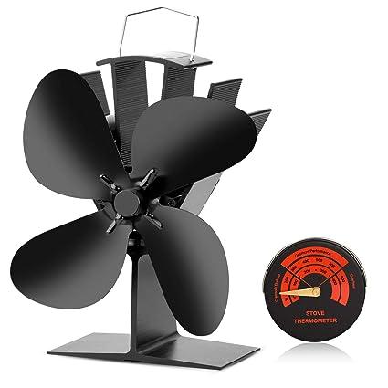 CWLAKON - Estufa con Calor Fan-2018 diseño silencioso Funcionamiento 4 Cuchillas con Estufa termómetro