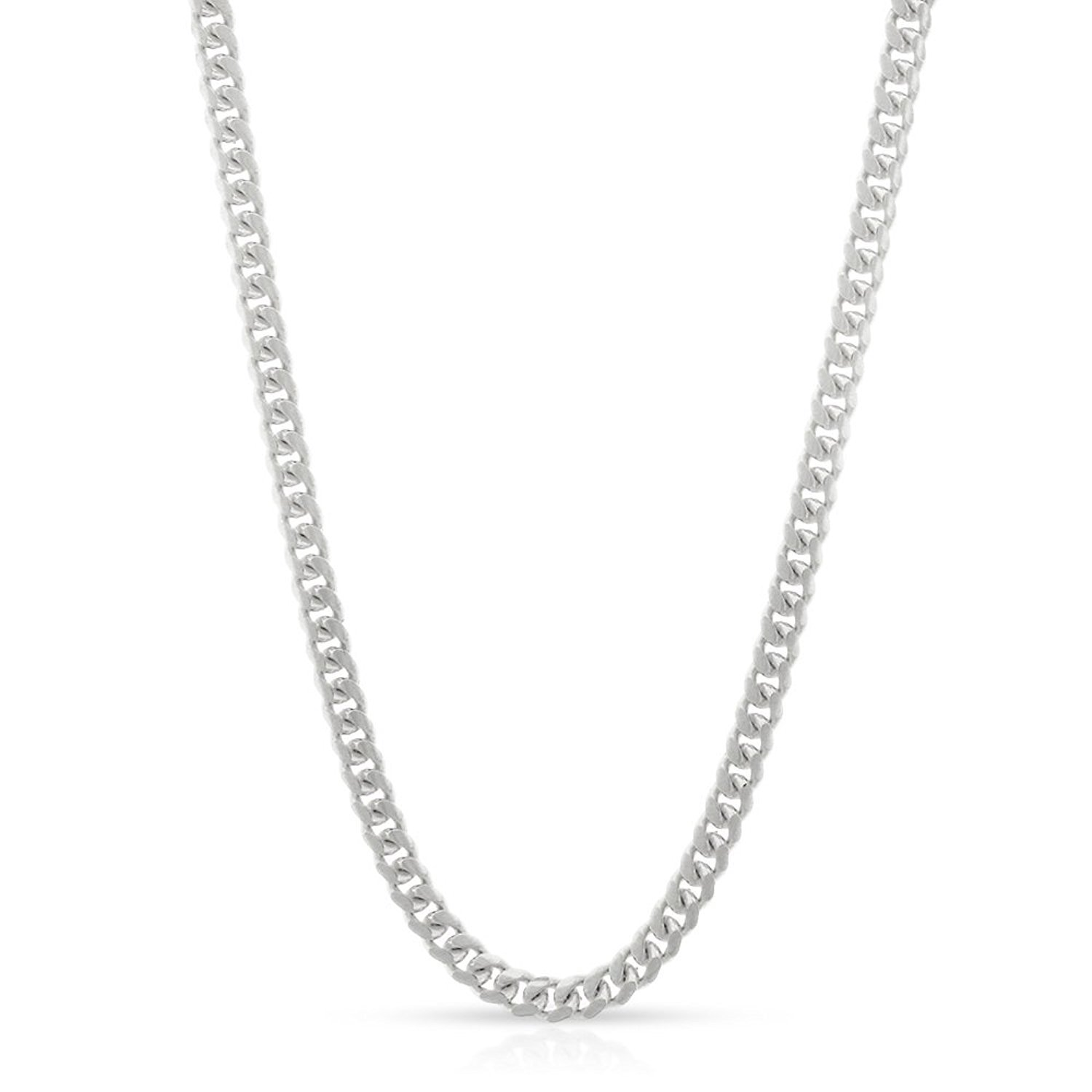 14k White Gold 2.5mm Solid Miami Cuban Curb Link Thick Necklace Chain 16'' - 30'' (22)