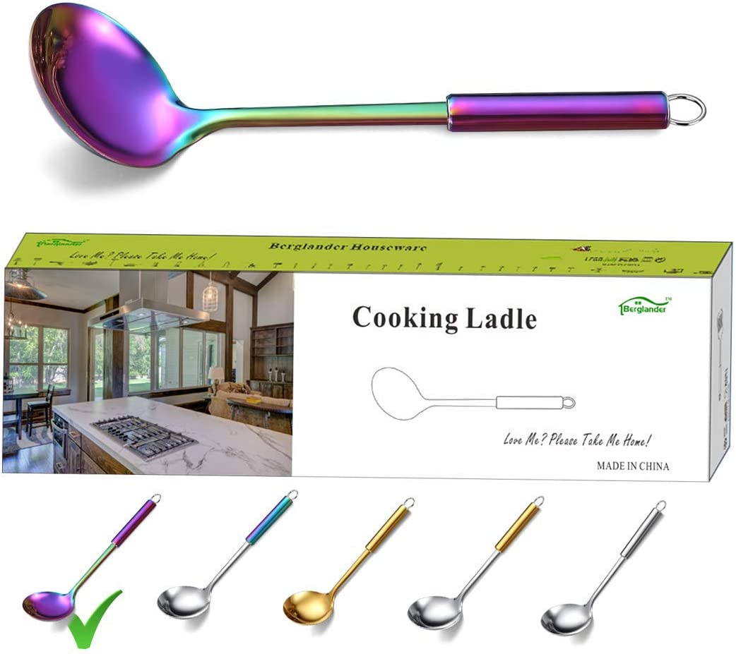 14 Inches Colorful Kitchen Serving Ladle with Titanium Plating 304 Stainless Steel Rainbow Soup Ladle Spoon Long Soup Ladle