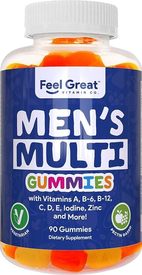 Feel Great Vitamin Co. Men's Multivitamin Gummies, Packed with Vitamin A, B-6, B-12, Biotin, C, D3, E, Iodine, Folic Acid, Zinc. Made in The USA. 45 Day Supply.