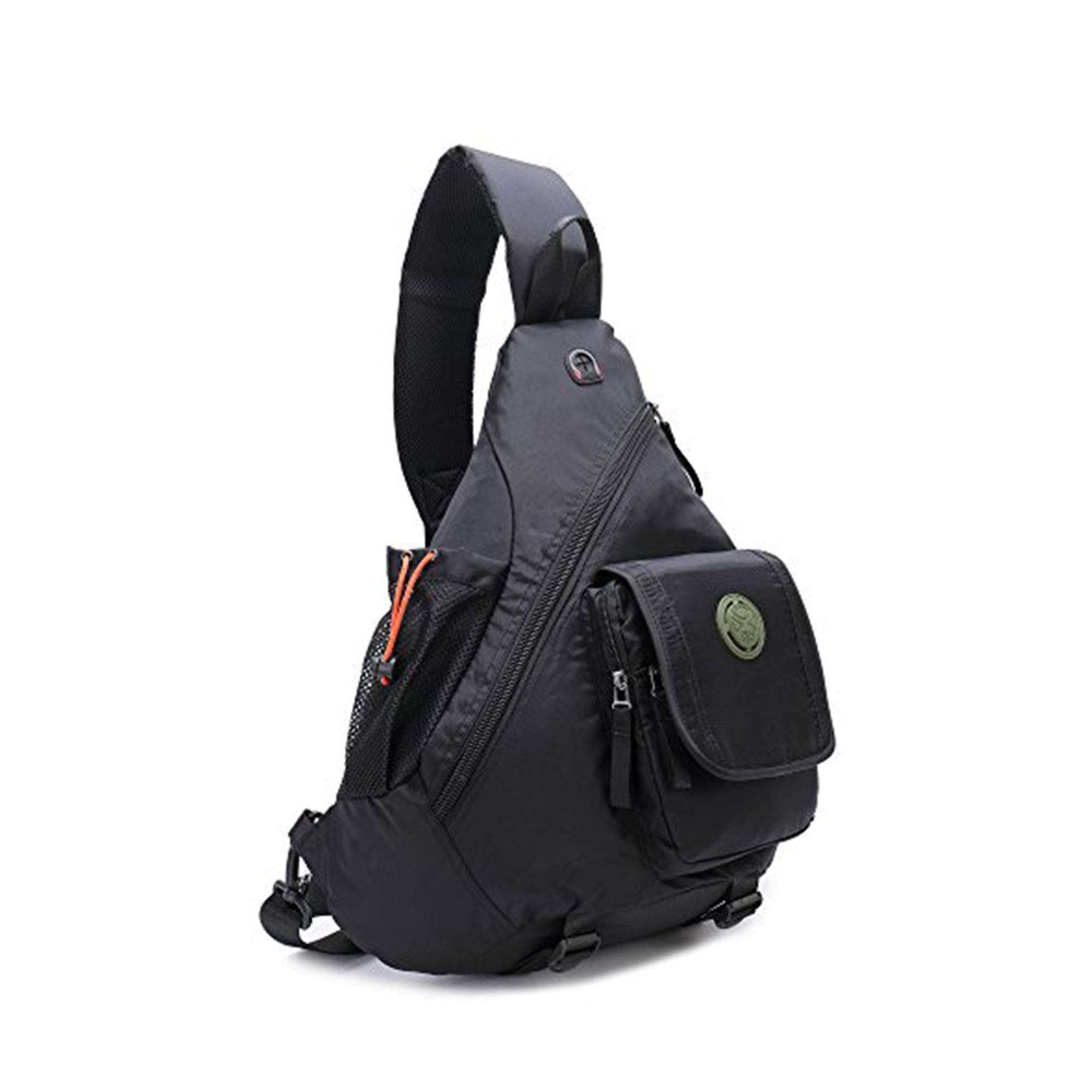 DDDH 14.1''Sling Bags Chest Pack Triangle Shoulder Crossbody Backpack for Outdoor Camping Hiking Man Women (Black)