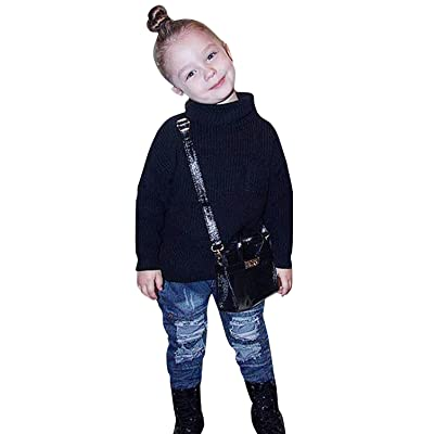 Baby High Collar Sweater YONYWA Kids Girls Warm Thick Knitted Pullover