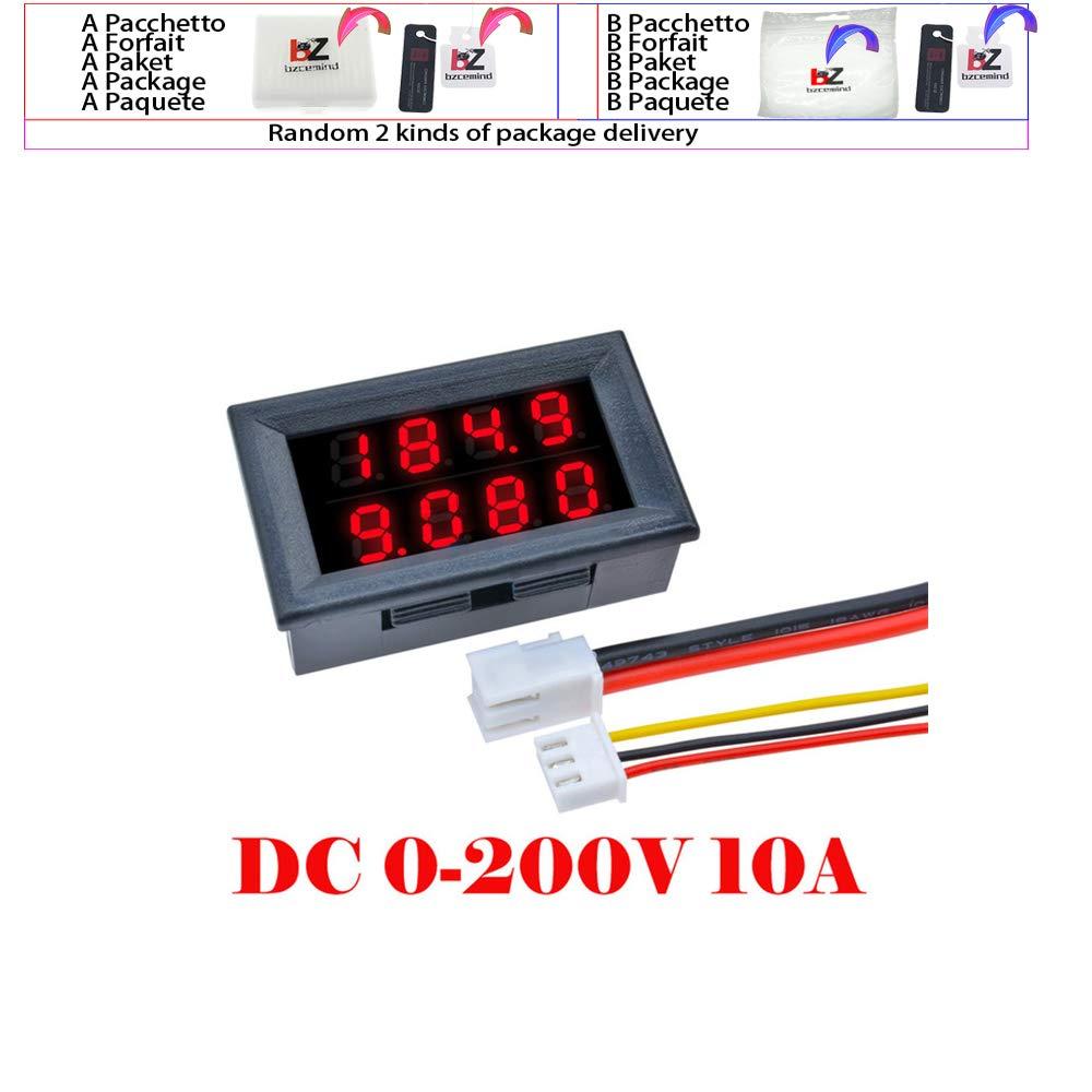 Mini Digital DC amper/ímetro del volt/ímetro del 4 Bit 5 cables de CC 200V 10A Tensi/ón Corriente Meter la fuente de alimentaci/ón Tester azul rojo LED de pantalla dual,DC 100V 10A Red Blue