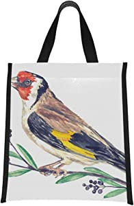 Lunch Bag Tote European Goldfinch Carduelis Bird Cooler Bag For Women Portable Insulated Cooler Bag Reusable, Foldable Keeps Food Hot/cold For Women,men,school,office