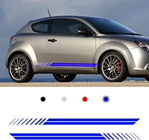 Autotoper Car Side Door Skirt Strip Sticker Decals For Alfa Romeo Giulia Mito Spide Blue Vinyl Car Decal Accessories-styling 1 Pair(L+R)