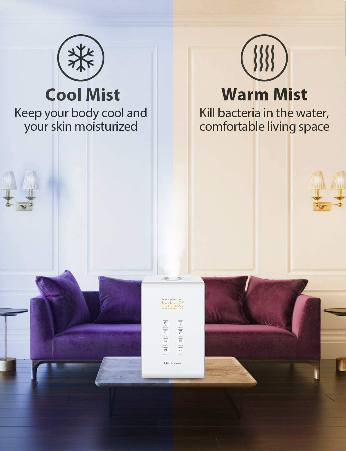 Elechomes Warm and Cool Mist Humidifiers, SH8820 Top Fill 5.5L Humidifier for Large Room Bedroom Plants with Remote Control, 20db Ultra Quiet, LED