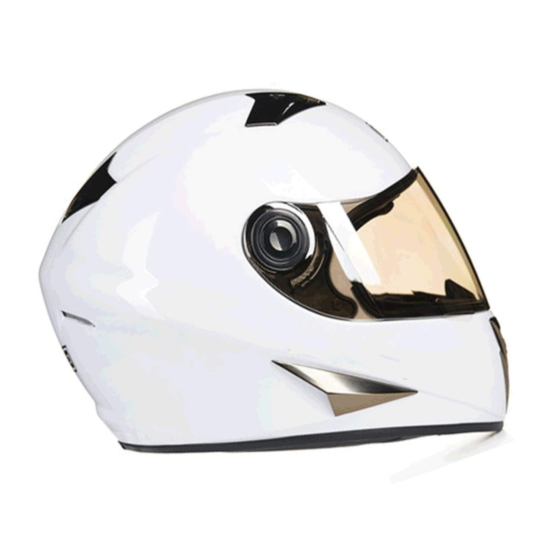 Motorbike Helmet,full Face Helmet,Deceleration Anti-glare Summer Electric Car Helmet Female Four Seasons Helmet M (54-56cM) L (57-58cx) XL (59-60cw) (Color : White, Size : L)
