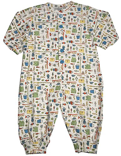 New Potatoes - Baby Boys Long Sleeve Fishing Coverall, White, Multi 30962-24Months Infant New Potatoes
