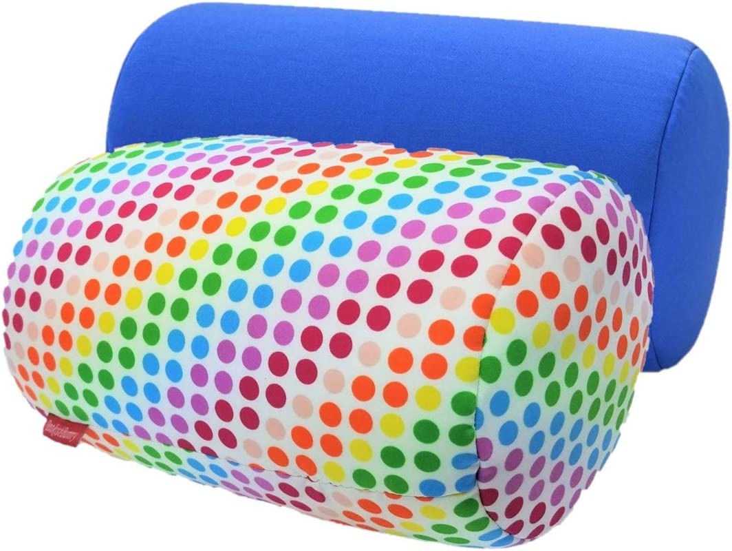Bookishbunny 2pk Micro Bead Bolster Tube Pillow Cushion for Car Sofa Bed Room Decoration Hypoallergenic Odorless Squishy and Cool Fabric Blue//RainbowDot Back Neck Head Body Support