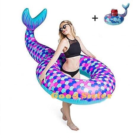 Lady of Luck Inflable Sirena, Gigante Sirena Flotador Anillo de Natación Hinchable Colchoneta Los Juguetes