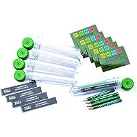 5 x Petling 13cm + WASSERFESTE Logbücher + Stift + klar Aufkleber komplett Set Paket Geocaching Cache Versteck grün 13 cm