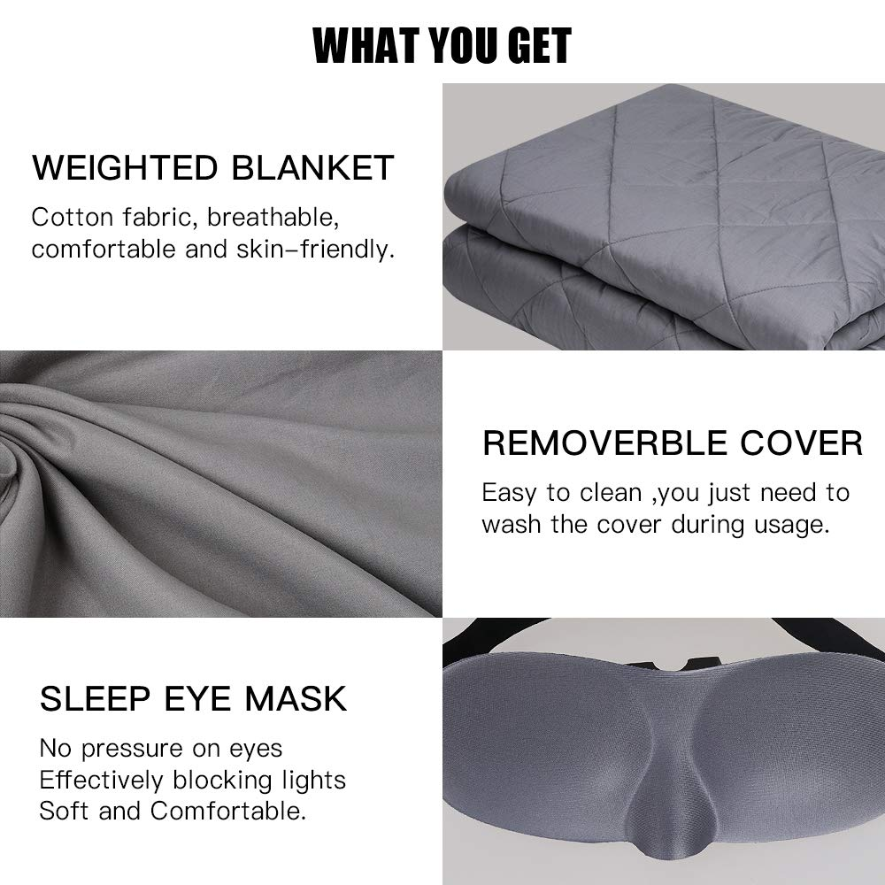 Sunba Youth Weighted Blanket Grey, 15lbs,48x72 Removable Cover+Sleep Eye Mask,100/% Cotton Material with Glass Beads for Adults and Kids Heavy Blanket