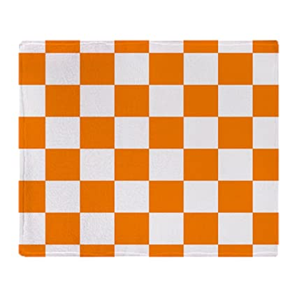 CafePress – naranja y blanco tablero de ajedrez – suave manta de forro polar, 50