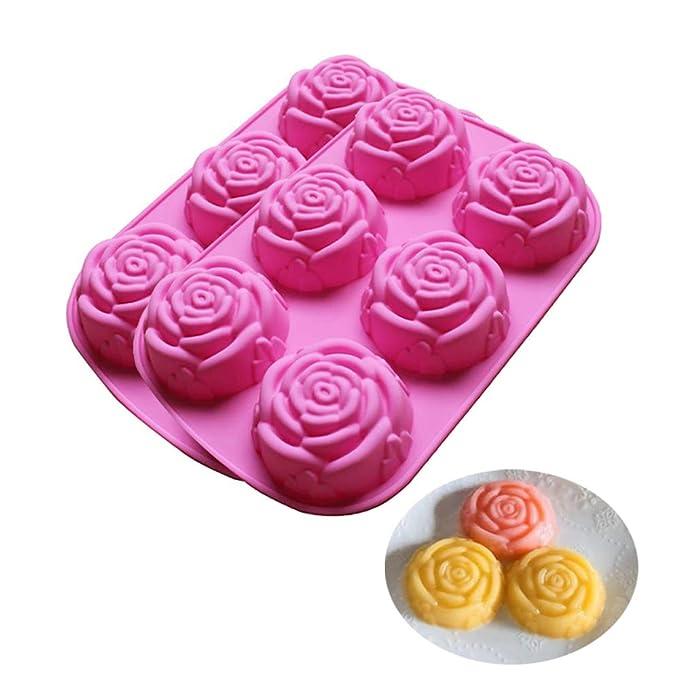 BAKER DEPOT Molde de silicona para jabón artesanal, pastel, gelatina, pudín, chocolate, 6 Cavity Rose Design, Set of 2: Amazon.es: Hogar