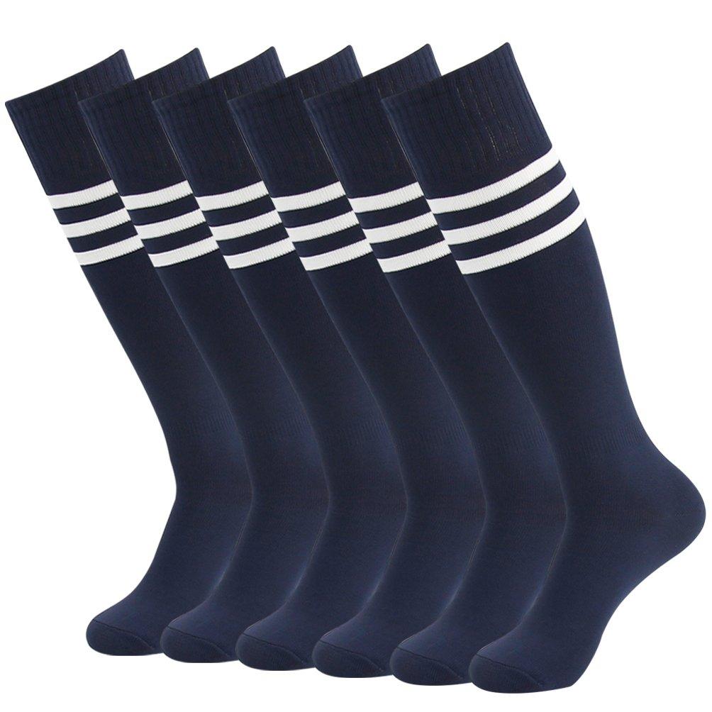 J'colour Athletic Football Soccer Socks, Unisex Knee-High Sport Baseball Running Tube Socks 6 Pairs Navy Blue&White Stripe by J'colour