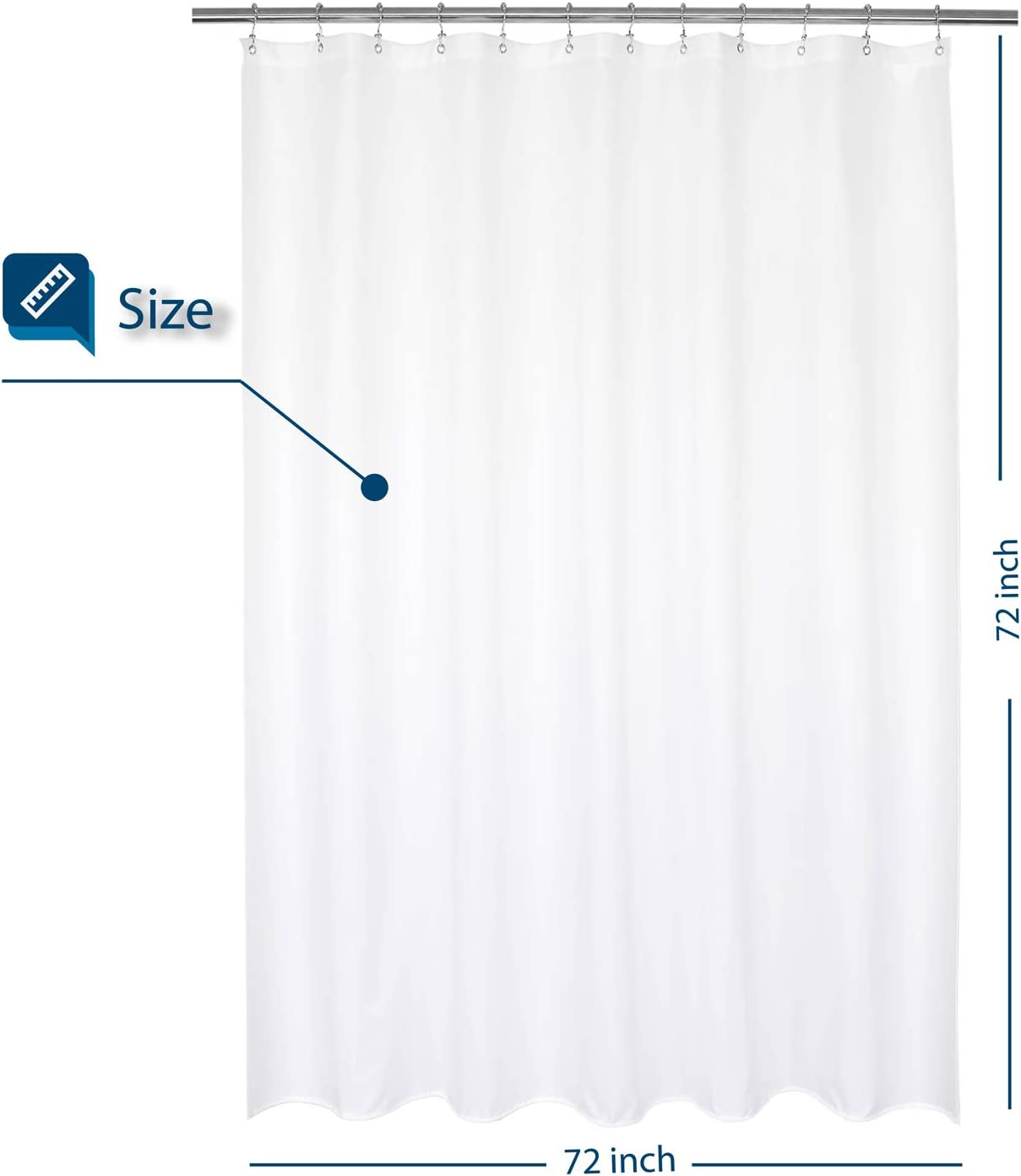 Barossa Design Waterproof Fabric Shower Curtain or Liner Hotel Quality, Machine Washable, White Shower Curtain Liner for Bath Tub, 72x72 Inches: Home & Kitchen