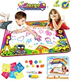 SupMLC Water Drawing Mat Aqua Magic Water Doodle Mat Colorful Extra Large Size 34.6 X 22.8 Inches for Kids Doodle Learning Toy Educational Boys Girls Gift Included Draw Templates with 2 Magic Pens