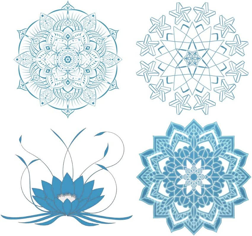EACILLES Static Window Cling Decals, Alert People or Birds from Hitting Windows and Glass Doors, Mandala, 4 Pieces