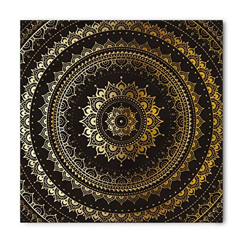 Gold Mandala Bandana by Lunarable, Ethnic Asian Flora Meditation Cosmos Universe Themed Circles Artwork, Printed Unisex Bandana Head and Neck Tie Scarf Headband, 22 X 22 Inches, Gold Black Yellow -