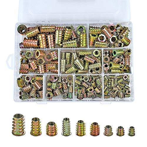 PGMJ 200 Pieces 9 Size M4/M5/M6/M8/M10 Metric Threaded Inserts Nuts Assortment Tool Kit for Wood Furniture Zinc Alloy Furniture Bolt Fastener Connector Hex Socket Screw Inserts