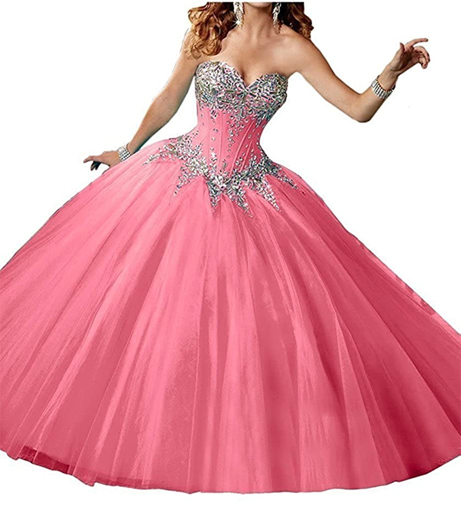 Pink Zhu Li Ya Women's Ball Gown Rhinestone Prom Party Quinceanera Dresses