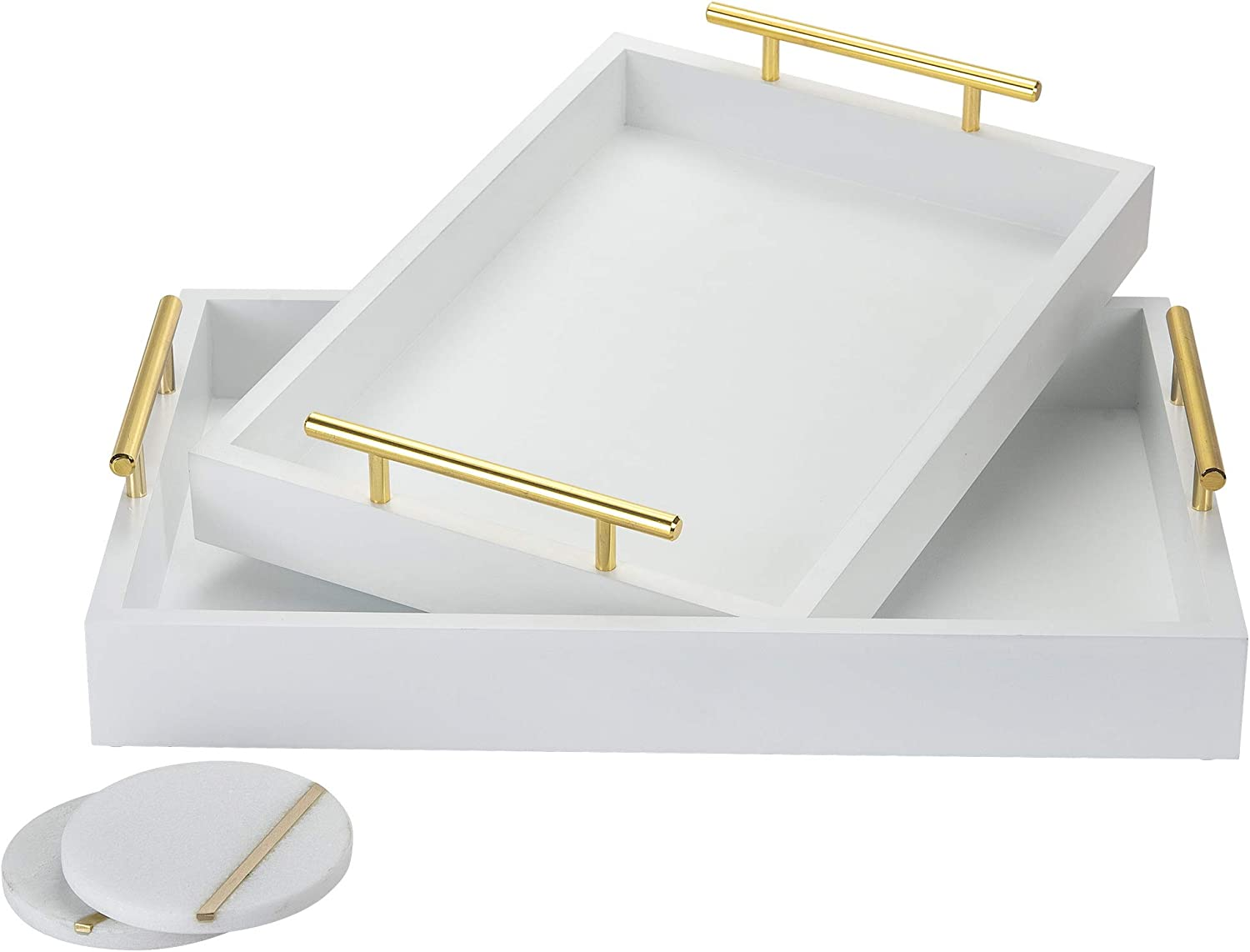 Novus Luxe Decorative Trays - Set of 2 Multifunctional Coffee Table Décor Serving Trays with 2 Marble Coasters - White Dresser Organizer Vanity Trays for Jewelry & Perfume with Gold Metal Handles: Kitchen & Dining